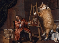 Edwaert Collier, Self-Portrait with a Vanitas and the Cat / Эверт Кольер, Автопортрет с Vanitas и котом
