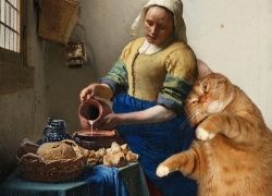 Johannes Vermeer, The Kitchen Maid and the Cat / Ян Вермеер Дельфтский, Молочница и кот