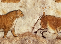 "Prehistoric cave painting: ""Fat Cat and Fat Horse"". Lascaux Caves, 13 000 – 15 000 BC"