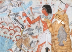 Tomb of Nebamun, Cats Hunting in the marshes. I gotta fishy, I can has dis birdy plizz?
