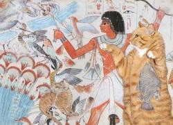 Tomb of Nebamun, Cats Hunting in the marshes. I gotta fishy, I can has dis birdy plizz? / Гробница Небамуна, фреска. Охота на болоте. Спасибо за рыбку, и можно мне птичку?