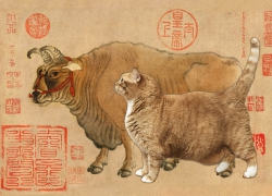 Han Huang, Five Oxen and Five Cats, 1