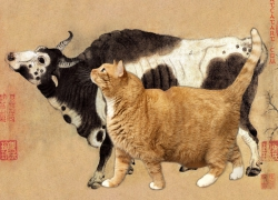 Han Huang, Five Oxen and Five Cats, 4