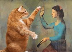 Пабло Пикотсо, Девушка с веером, играющая с котом,