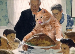 Norman Rockwell, Freedom from Want: Give you Turkey to the Cat