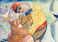 Isaac Grenewald, Boy with sailing cat / Исаак Грюневальд, Мальчик с морским котом