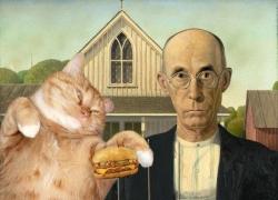 Grant Wood, American Gothic. I can has cheeseburger? / Грант Вуд, Американская готика с русским котиком