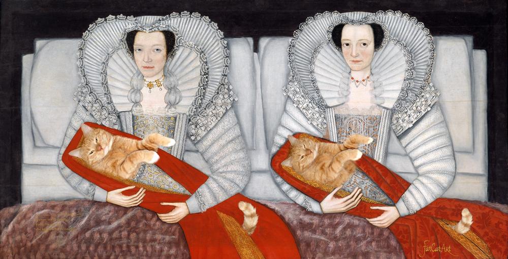 Британская школа, 17 век, «Леди Чамли с их котиками»