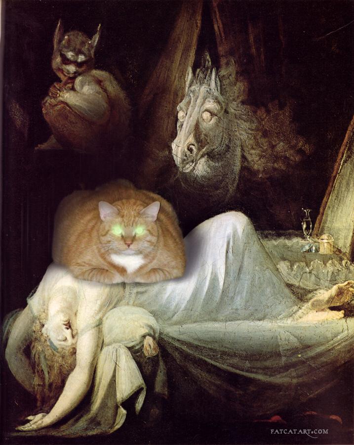 На сон грядущим. Генрих Фюссли, Ночной кошмар с котом