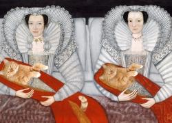 Британская школа 17 века,  Леди Чамли с котятами