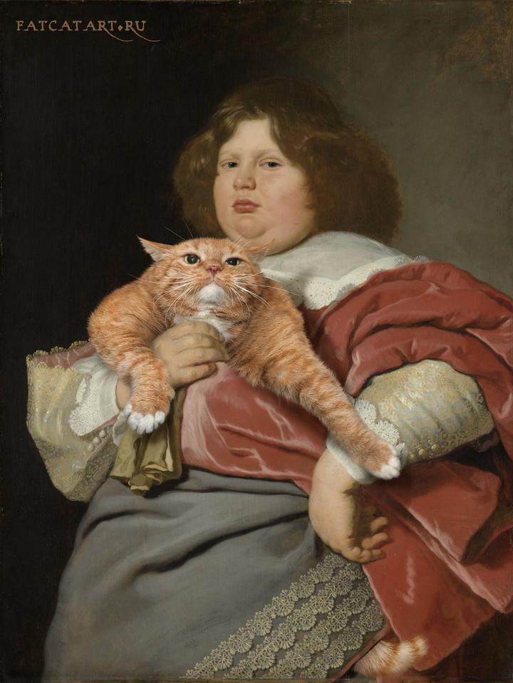 Толстый мальчик и толстый кот