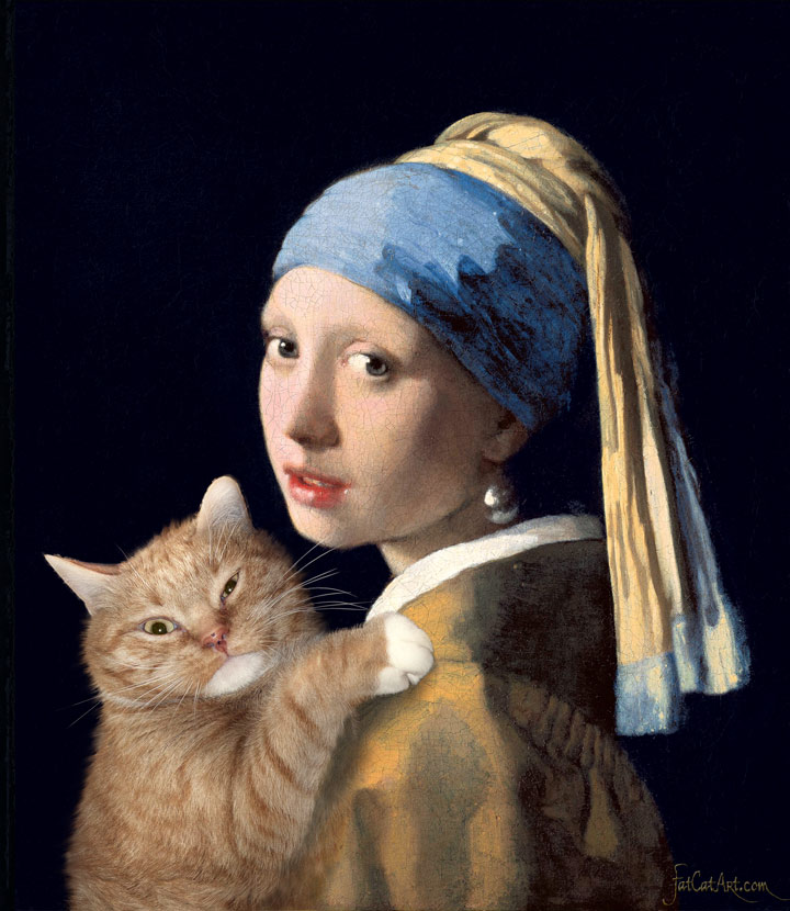 FatCatArt Johannes Vermeer, Girl with a Pearl Earring and a Ginger Cat