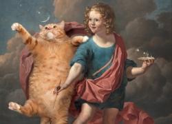 Karel Dujardin, Boy Blowing Soap Bubbles and Cat hunting them / Карел Дюжарден. Мальчик, пускающий мыльные пузыри, и кот, охотящийся за ними.