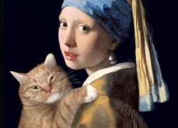Johannes Vermeer, Girl with a Pearl Earring and a Ginger Cat