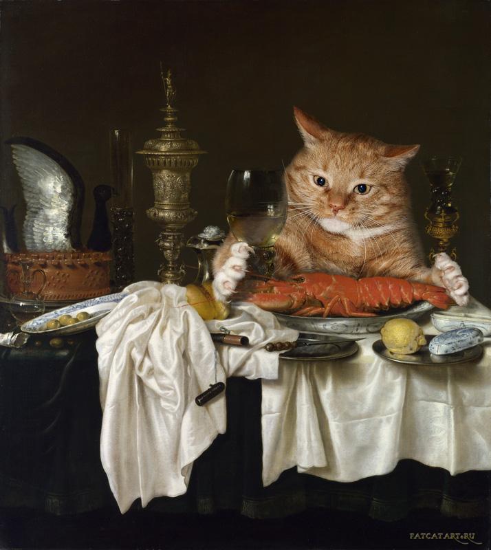 Виллем Клас Хеда, Натюрморт с лобстером, измереямым котом