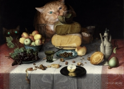 Floris van Dijck, Still Life with Cheeses and Cats / Флорис Ван Дейк, Натюрморт с сырами и котами