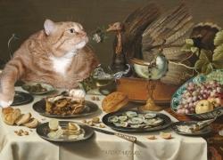 Pieter Claesz, Still Life with Turkey Pie and the Cat / Питер Клас, Натюрморт с Котом, интересующимся пирогом с индейкой.