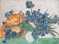 Vincent van Gogh, Irises and the Cat / Винсент Ван Гог, Ирисы и Киса