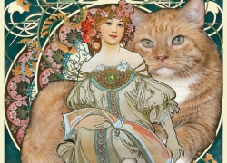 Alphonse Mucha, Reverie with a cat