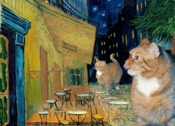 Vincent van Gogh, Terrace of a café at night during quarantine visited by giant catst