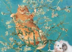 Vincent Van Gogh, Cats in almond blossoms / Винсент Ван Гог, Коты и миндаль в цвету