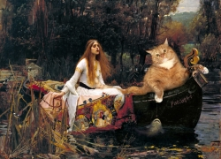 The Lady of Shalott, floating to Cat-melot / Джон Уильям Уотерхаус, Леди из Шалот на пути в Кот-мелот