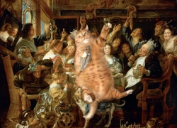 Jacob Jordaens, The Feast of Cats and Humans. The King drinks