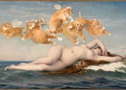 Alexandre Cabanel, The Birth of Venus. Cats are a girl's best friends  / Александр Кабанель, Рождение Венеры. Котята — лучшие друзья девушек