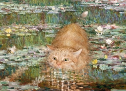 Claude Monet, Bathing under the Bridge over a Pond of Water Lilies