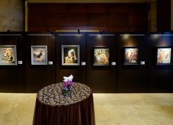 Set up of the exhibition in the Fullerton Hotel
