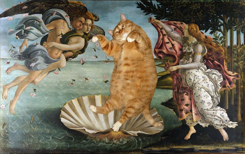 Botticelli, The Birth of Venus Cat by FatCatArt