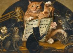 Lombard School, Cats being instructed in the art of mouse-catching by Zarathustra / Ломбардская школа, Коты, обучаемые как ловить мышей, своим пророком Заратустрой