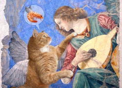 Melozzo da Forli, Angel playing lute to his cat /