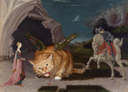 Uccello, Saint George feeds the Winged Cat with organic food