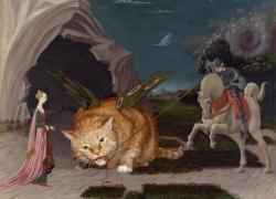 Uccello, Saint George feeds the Winged Cat with organic food / Учелло, Св.Георгий кормит крылатого Кота исключительно натуральными продуктами