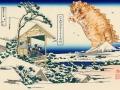 Katsushika Hokusai, Tea house at Koishikawa. The morning after a snowfall. Catzilla attacks. From 36 views of Mount Fuji, no 11 / Кацусика Хокусай, Снежное утро на реке Коисикава. Котзилла в атаке. Из серии Тридцать шесть видов Фудзи, №11