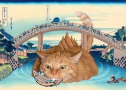 Katsushika Hokusai, Catzilla pops up under the Mannen Bridge at Fukagawa, from the series Thirty-six Views of Mount Fuji