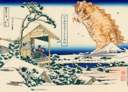 Katsushika Hokusai, Tea house at Koishikawa. The morning after a snowfall. Catzilla attacks. From 36 views of Mount Fuji, no 11