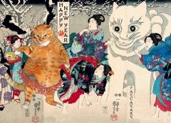 Utagawa Kuniyoshi, Fat Cat and Giant Snow Cat / Утагава Куниеси, Толстый кот и Снежный кот