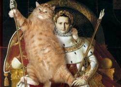 Jean Auguste Dominique Ingres, Napoleon I as the Imperial Throne for the Cat / Жан Огюст Доминик Энгр, Кот, восседающий на Наполеоне I как на императорском троне