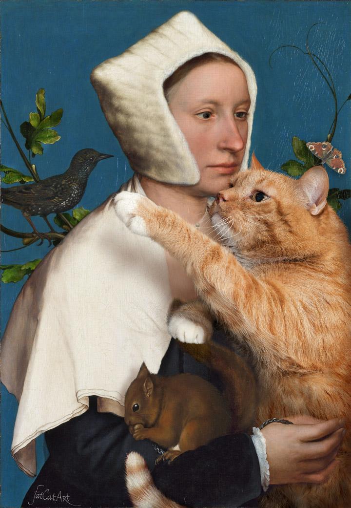 Ганс Гольбейн Младший, Портрет дамы с белкой, скворцом и котом.