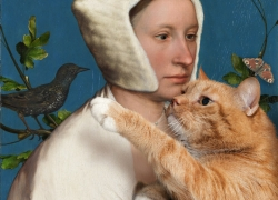 Hans Holbein the Younger , A Lady with a Squirrel, a Starling, and a Cat