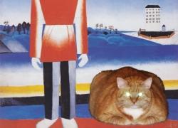 Malevich, Man on Suprematic Landscape with Suprematic Cat / Малевич, Мужчина в супрематическом пейзаже с супрематическим котом