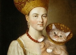 "Ivan Argunov ""Portrait of an Unknown Woman in Russian Costume and a Well-Known Cat in a Vet Collar"""