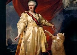 Dmitry Levitsky, Portrait of Catherine II the Legislator with Cat as the Symbol of Justice   Дмитрий Левицкий,  Портрет Екатерины II - законодательницы в храме Кота как символа Правосудия