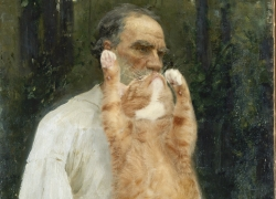 Ilya Repin, Leo Tolstoy with a cat beard, barefoot