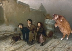 Vasily Perov, Troika. Apprentices Fetch Water with the Kind Help of Cat. / Перов, Тройка. Ученики мастеровые везут воду с помощью кота.