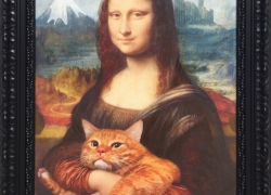 Mona Lisa with her Cat at Sazai Hall- Temple of Five Hundred Rakan, Thirty-seventh view of Mount Fuji