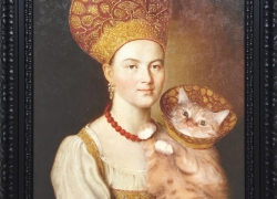 Portrait of an Unknown Woman in Russian Costume and a Well-known Cat in a Veterinary Collar