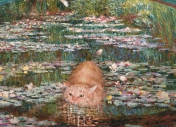 Bathing in a Pond of Water Lilies
